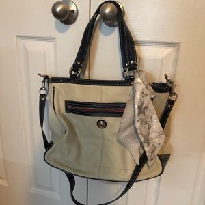 Coach white leather work tote with crossbody strap